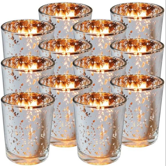 Silver Mercury Glas Votive Candle Holder